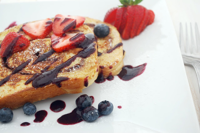 Cinnamon Swirl French Toast with Blueberry Sauce