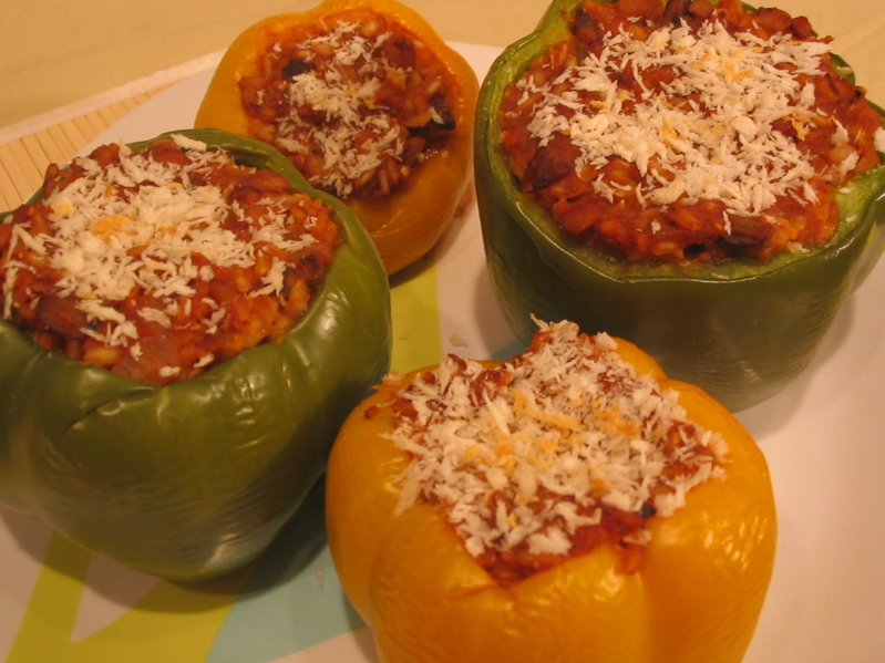stuffed peppers with ground beef ingredients 4 small sized peppers ...
