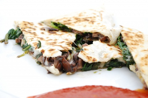 Mushroom-Fontina-and-Spinach-Quesadillas