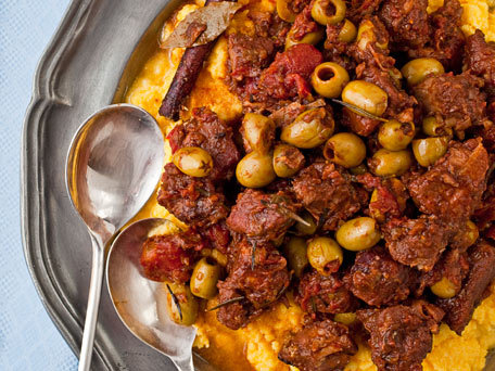 Braised-Pork-Shoulder-with-Tomatoes-Cinnamon-and-Olives-Over-Polenta