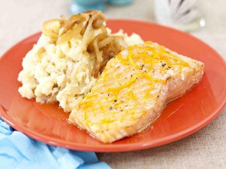 Honey-Citrus-Glazed-Salmon-with-Caramelized-Onion-Mashed-Potatoes