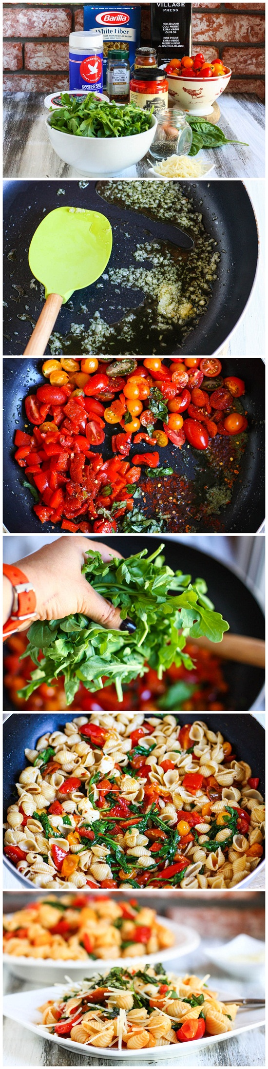 Smoky-Tomato-Roasted-Red-Pepper-Arugula-Pasta-Recipe