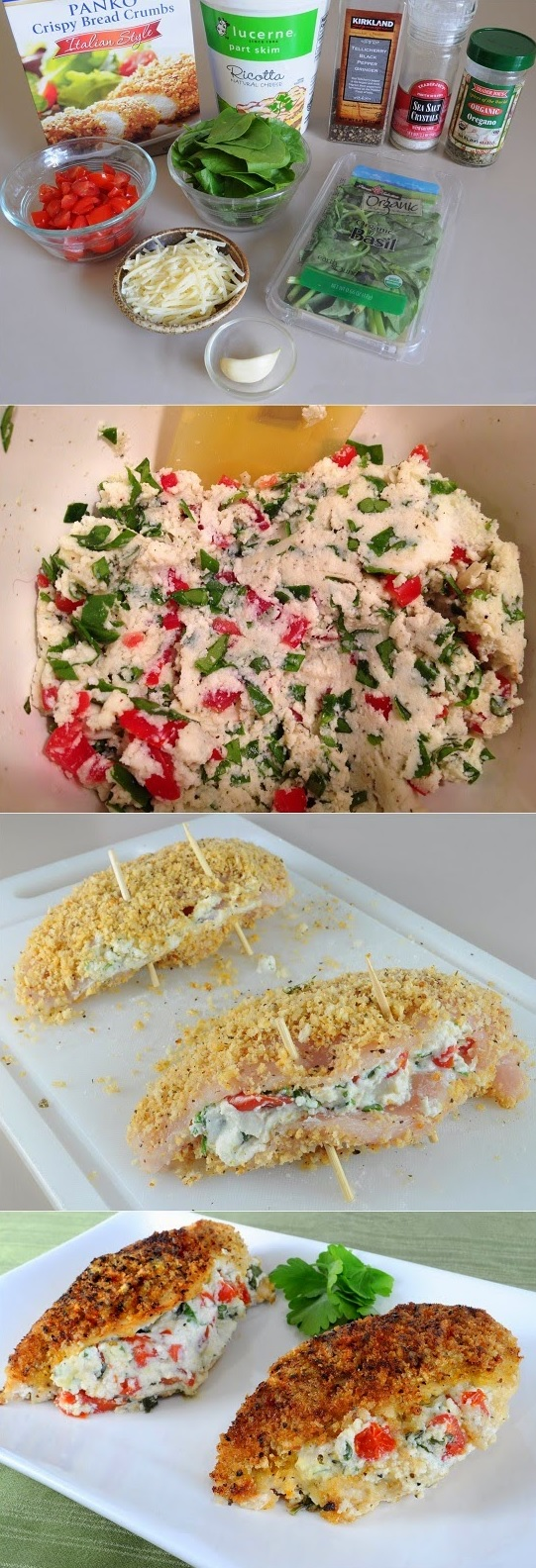 Italian Panko Crusted Stuffed Chicken